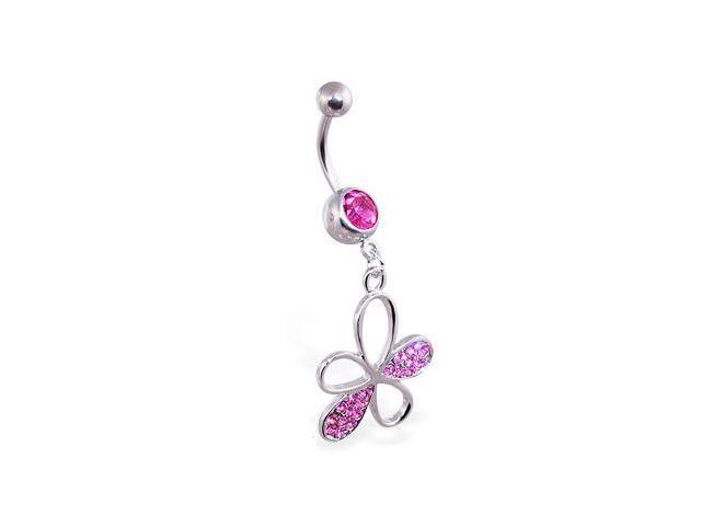 Belly ring with dangling gem paved flower,Color:pink - B