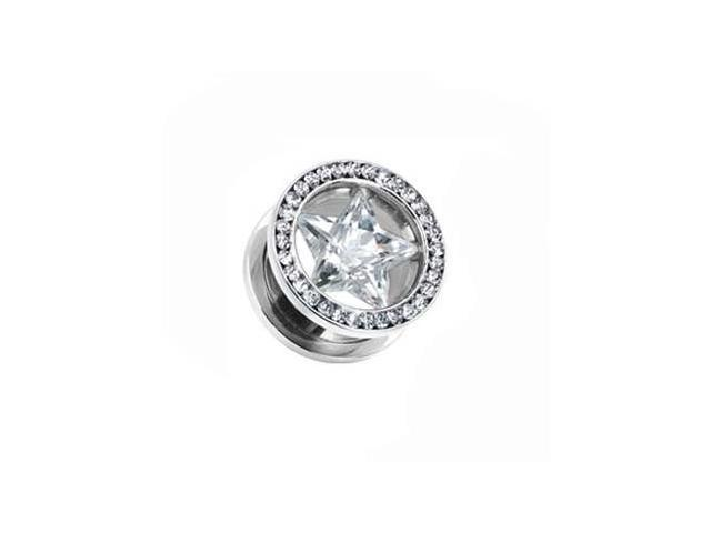 316L Surgical Stainless Steel Screw Fit Hollow Tunnel with CZ star and jeweled Rim,Gauge:00