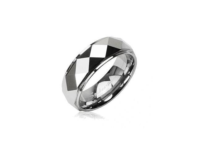 Tungsten Carbide Faceted Ring With Drop Down Edges,Ring Size - 9