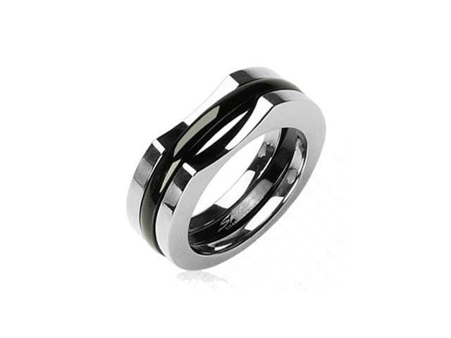 Solid Titanium with a Two Piece IP Black Ring,Ring Size - 10