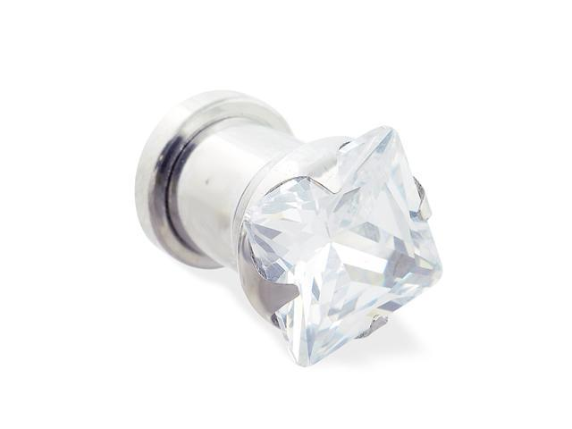 Steel screw-fit plug with clear square CZ,Gauge:00