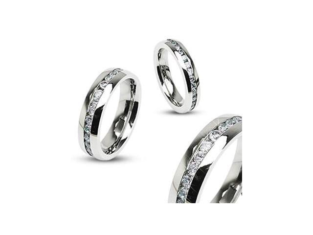316L Stainless Steel Eternity Clear Gems Ring,Ring Size - 13