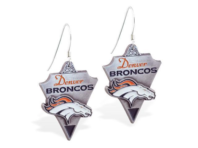 MsPiercing Sterling Silver Earrings with offical licensed NFL charm, Denver Broncos