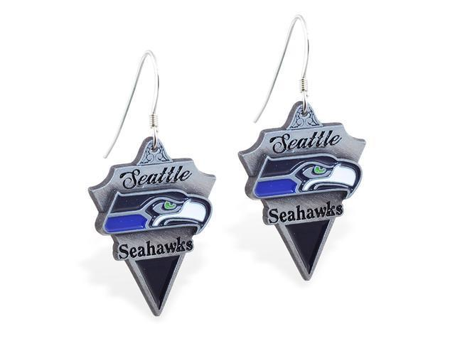 MsPiercing Sterling Silver Earrings with offical licensed NFL charm, Seattle Seahawks