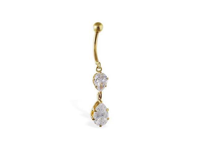 14K Gold Brilliant Double Pear Navel Ring,Gold color:Yellow gold