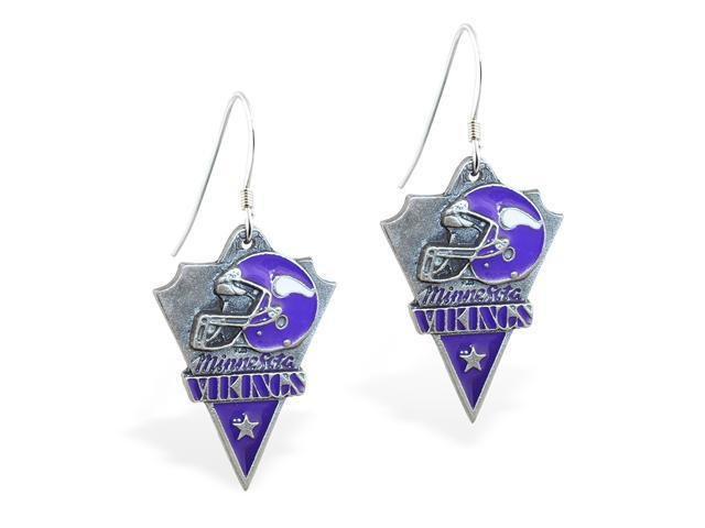 MsPiercing Sterling Silver Earrings with offical licensed NFL charm, Minnesota Vikings