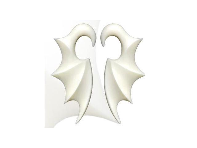 Pair of Hand  carved buffalo bone bat wing tapers,Gauge:4
