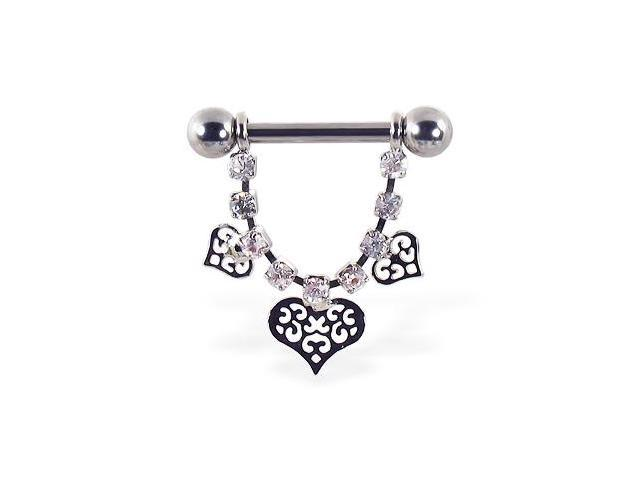 Nipple ring with dangling jeweled chain and fancy hearts, 12 ga or 14 ga,Gauge:14