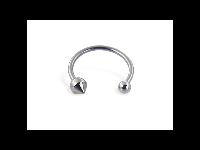 Single ball-cone circular barbell, 16 ga,Diameter:1/2