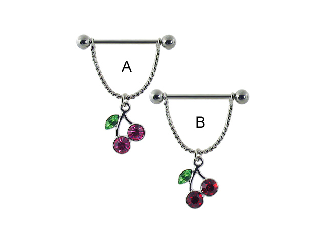 Nipple ring with dangling cherries,Color:pink - A