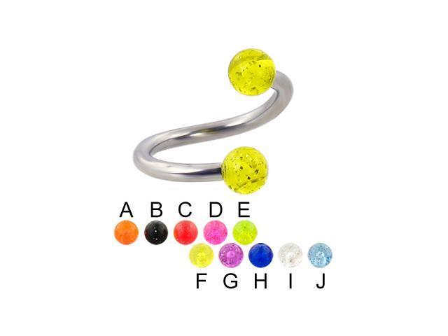 """Glitter ball spiral barbell, 12 ga,Diameter:1/2"""" (13mm),Ball size:1/4"""" (6mm),Color:light green - E"""