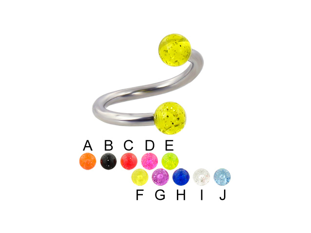Glitter ball spiral barbell, 12 ga,Diameter:5/8