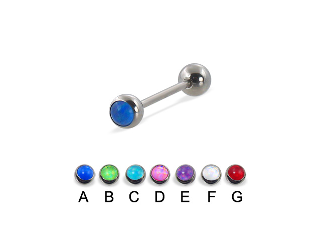 "Straight barbell with hologram balls, 16 ga,Length:9/16"" (14mm),Color:blue  - A"