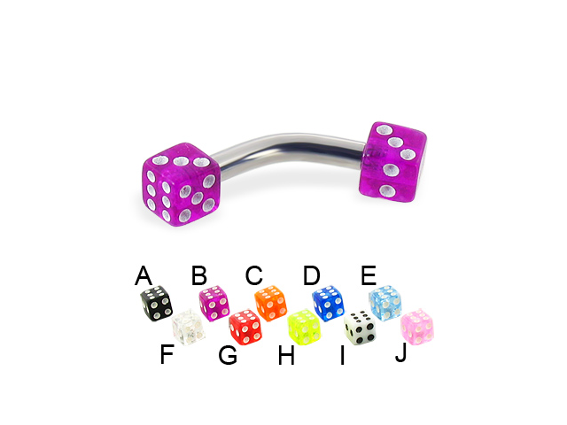 Acrylic dice curved barbell, 10 ga,Length:5/16