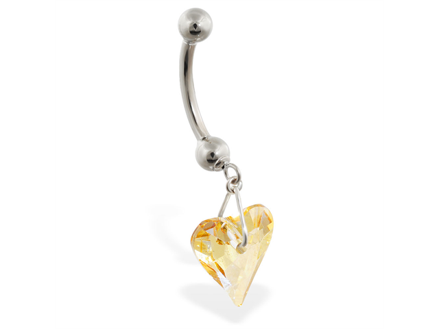 14K White Gold belly ring with dangling swavorski yellow crystal heart