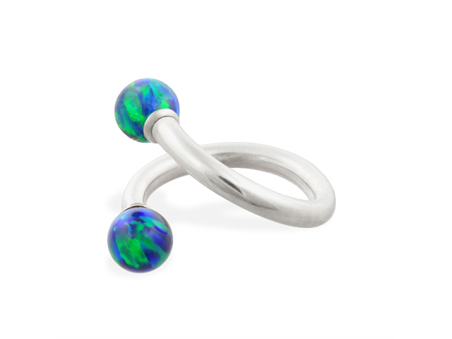 14K solid white gold twister barbell with Blue Green opal balls , 14ga
