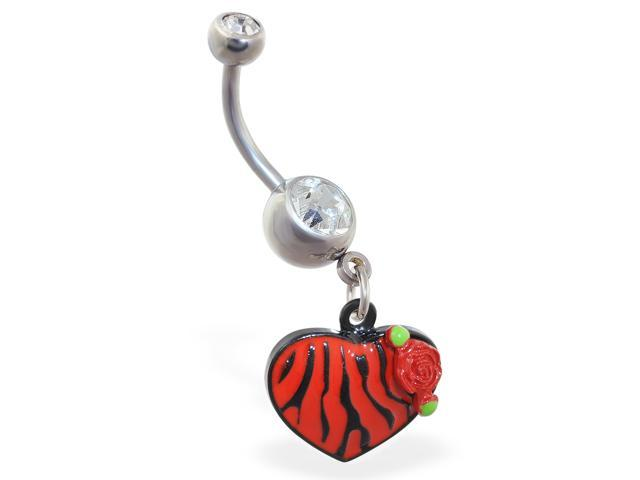 Belly ring with dangling tiger print heart,Color:red
