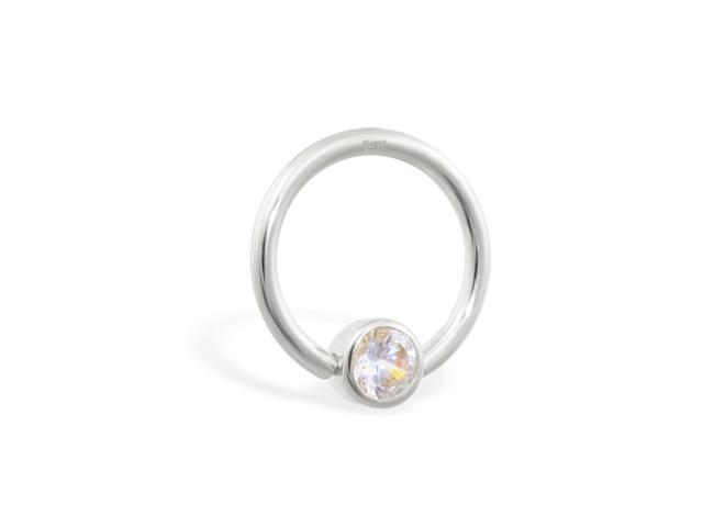 14K real white gold captive bead ring with Cubic Zirconia gem, 14 ga, Diameter: 7/16