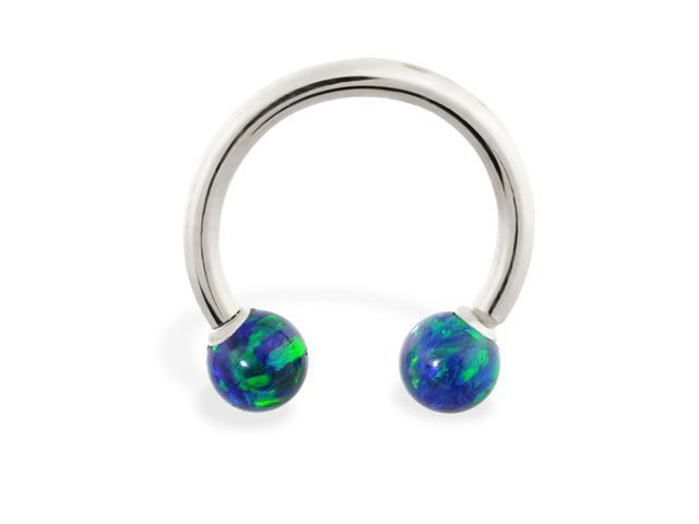 14K White Gold (Nickel free) horseshoe/circular barbell with Blue Green opal balls , 12 ga