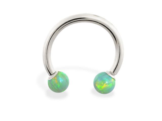 14K White Gold (Nickel free) horseshoe/circular barbell with Green opal balls , 12 ga