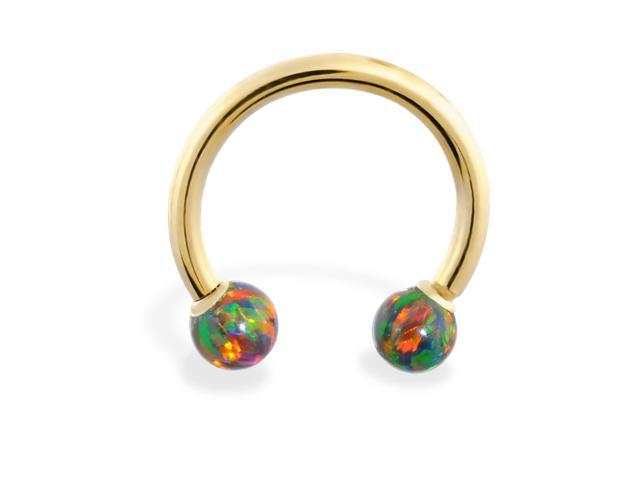 14K Yellow Gold (Nickel free) horseshoe/circular barbell with Rainbow opal balls , 14 ga