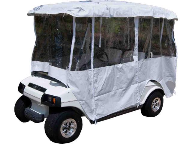 "White Golf Cart Enclosure Vinyl Cover - 4 Passenger Carts with 80"" Top"