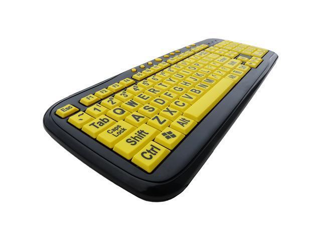 DSI Big Font Large Print USB Yellow Key Keyboard PC Compatible - OEM