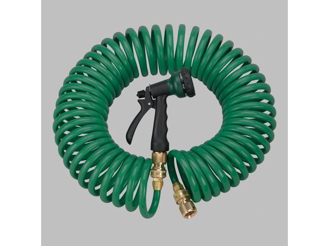 Orbit Green 50 Coiled Garden Hose with 6 Pattern Spray Nozzle