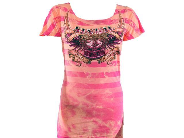 Sinful by Affliction Kingdom Come Short Sleeve Scoop Neck T-Shirt - Large-Coral