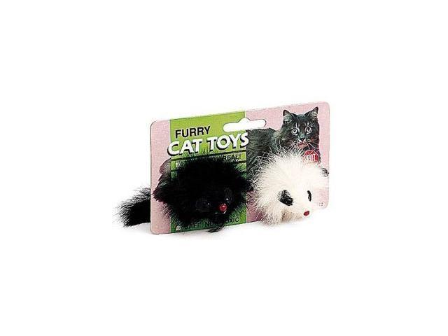 Ethical Pet Twin Plush Mice, Black/White, 2 Pack - 2913