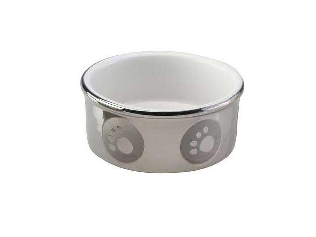 Ethical Pet Paw Print Titanium Dog Dish, Silver, 7 Inch - 6829
