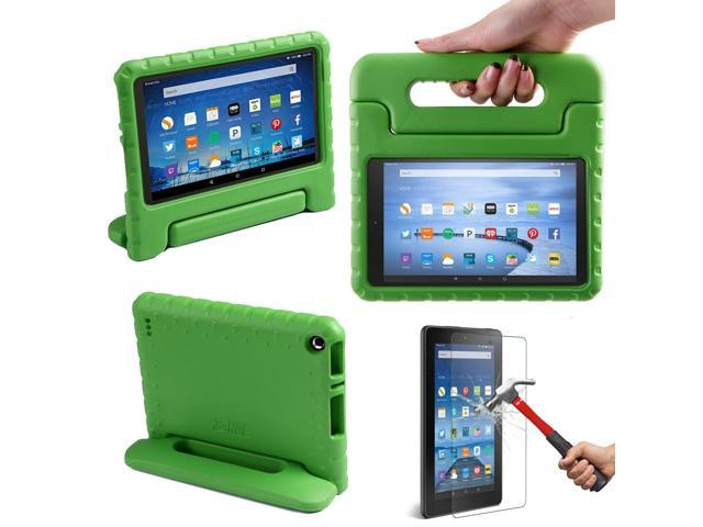 Hde Kindle Fire 7 2015 Kids Shock Proof Case Tempered Glass Screen Protector Red