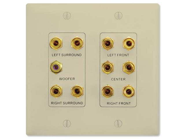 On-Q/Legrand 5.1 Surround Sound Home Theater Wallplate, Ivory (F9004-IV)