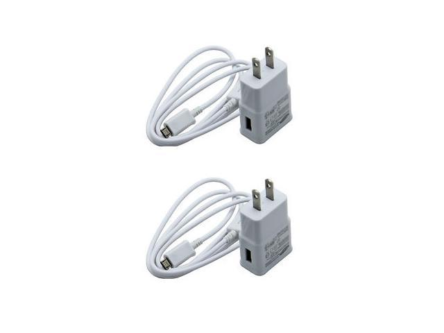 Lot of 2 Orginal OEM Samsung ETA-U90JWE White 2.0A / Amp High Power Home Wall Travel Adapter with Original OEM Samsung 5 Feet White USB Sync Data Cable Charger (Refurbished)