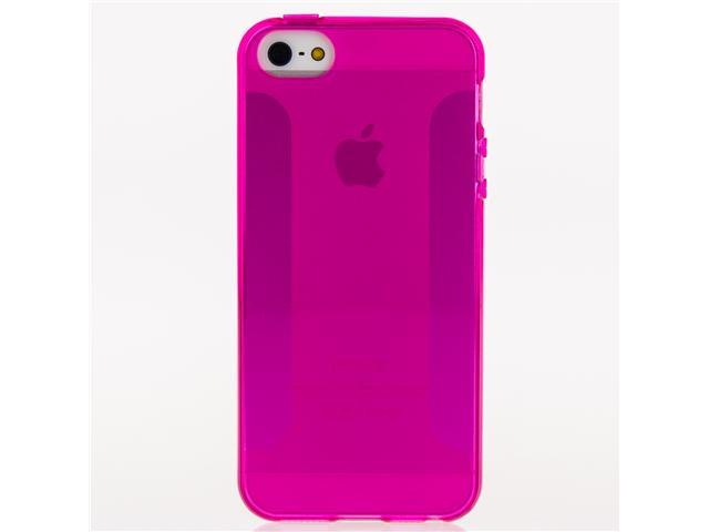 FORDIGI - High Gloss Fashion Premium TPU Soft Slim Fit Case Cover for iPhone 5 - Hot Pink Transparent