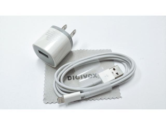 AC Power (white)Travel Wall Adapter + 3 Feet 8-pin to USB 2.0 Charging + Data Sync Cable Cord for iPhone 5 / 5S / 5C / iPad ...
