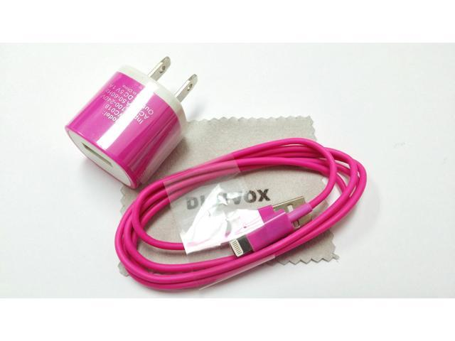 Wall Travel (Hot Pink)AC Charger Power Adapter with an 6ft 8 Pin to USB Charging & Sync Cable Wire Cord for iPad 4/ Air/ ...