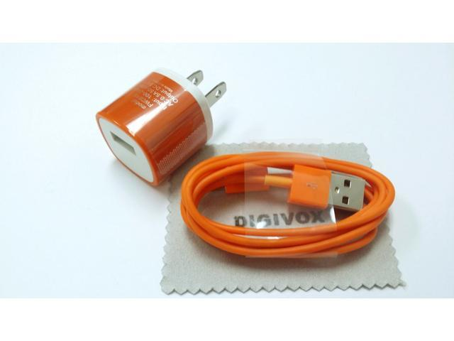 Wall Travel (Orange)AC Charger Power Adapter with an 6ft 8 Pin to USB Charging & Sync Cable Wire Cord for iPad 4/ Air/ Mini, ...
