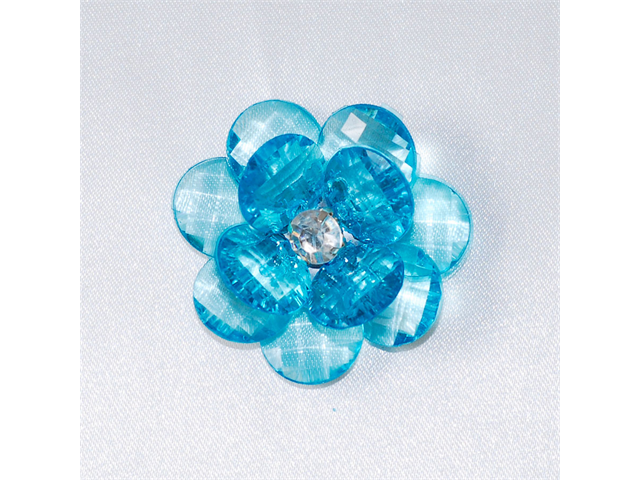 Acrylic Flowers w/ Rhinestone Center & Frayed Edge 1-3/4 inch Party decoration 6 pc - Color: Turquoise