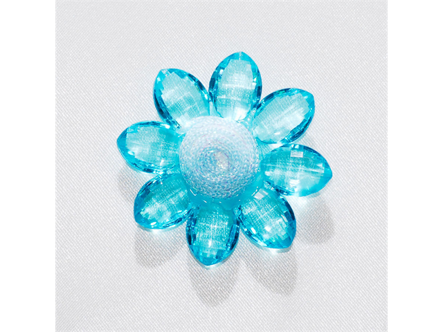 Acrylic Flowers w/ Beaded Center 2 inch Party decoration 6 pcs - Color: Turquoise