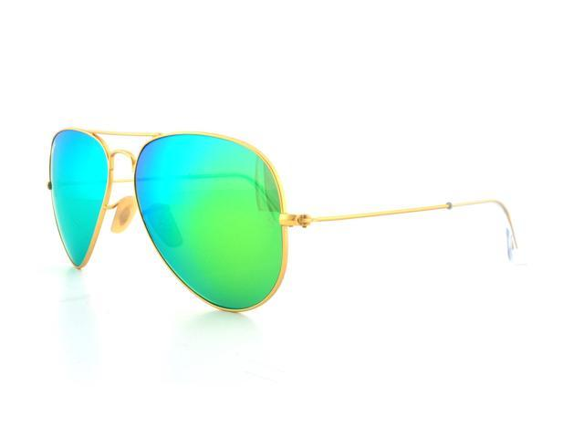 rayban rb3025 11219 58mm unisex aviator sunglasses with green flash lens gold frame