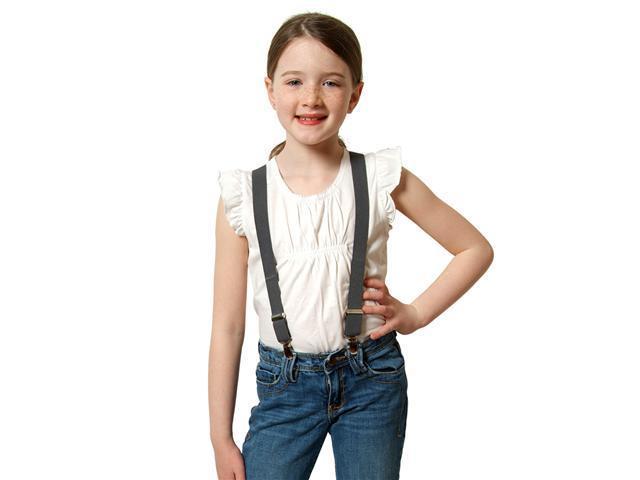 "Solid Color Kids Elastic Suspenders - Grey (30"")"