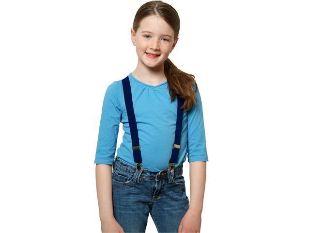 "Solid Color Kids Elastic Suspenders - Blue (size 22"")"