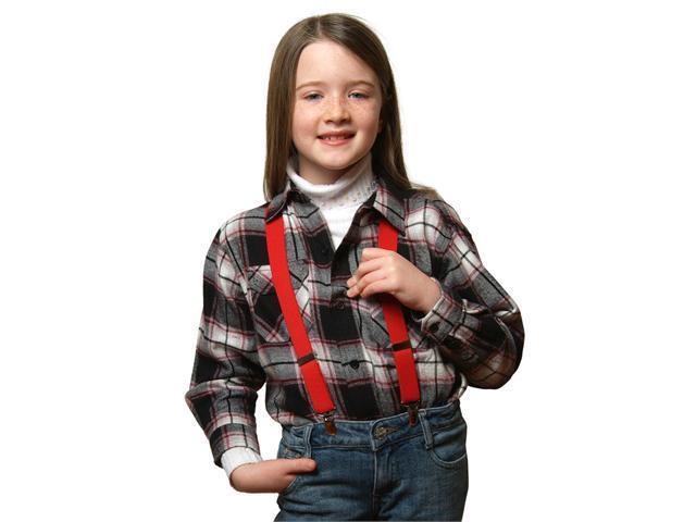 "Solid Color Kids Elastic Suspenders - Red (22"")"