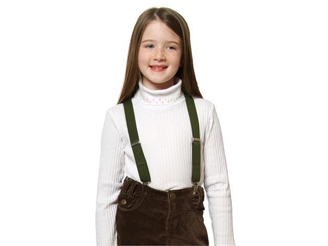 "Solid Color Kids Elastic Suspenders - Olive (26"")"