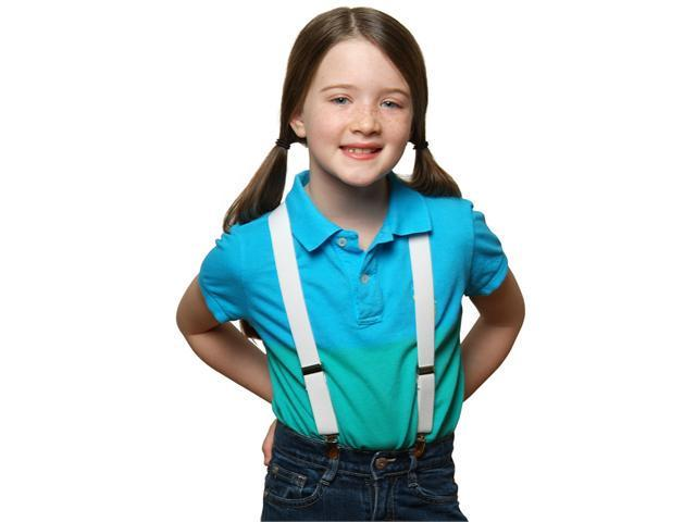 Solid Color Kids Elastic Suspenders - White (22