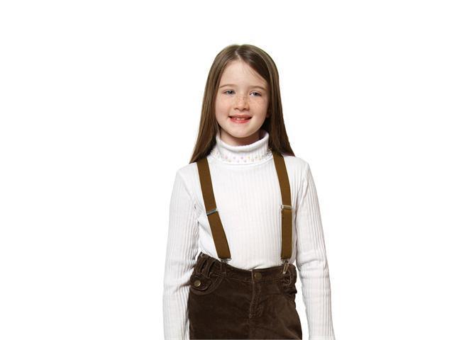 "Solid Color Kids Elastic Suspenders - Tan (26"")"