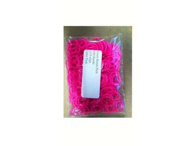 Loom Bands (Pink)- 300 pc w/ 12 S Clips- Compatible with all Bracelet Looms
