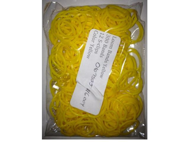 Loom Bands (Yellow)- 300 pc w/ 12 S Clips- Compatible with all Bracelet Looms