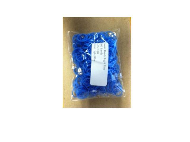 Loom Bands (Light Blue)- 300 pc w/ 12 S Clips- Compatible with all Bracelet Looms